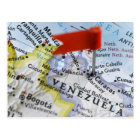 Map pin placed in Caracas, Venezuela on map, Postcard