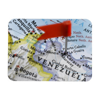 Map pin placed in Caracas, Venezuela on map, Rectangular Photo Magnet