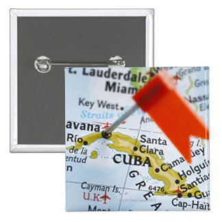 Map pin placed in Havana, Cuba on map, close-up