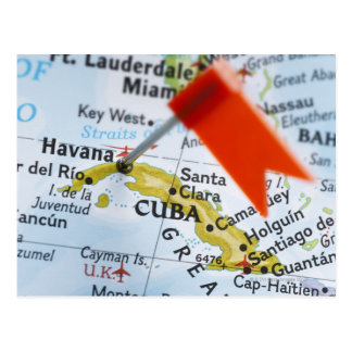 Map pin placed in Havana, Cuba on map, close-up Postcard