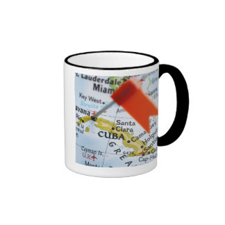 Map pin placed in Havana, Cuba on map, close-up Ringer Coffee Mug