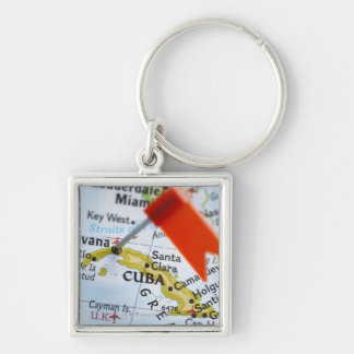 Map pin placed in Havana, Cuba on map, close-up Silver-Colored Square Keychain