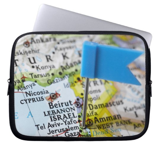 Map pin placed in Jerusalem, Israel on map, Laptop Sleeve