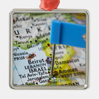Map pin placed in Jerusalem, Israel on map, Christmas Tree Ornament