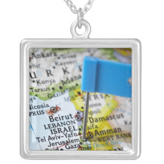 Map pin placed in Jerusalem, Israel on map, Square Pendant Necklace