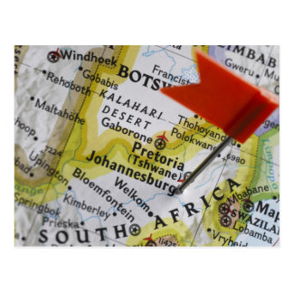 Map pin placed in Johannesburg, South Africa on Post Cards