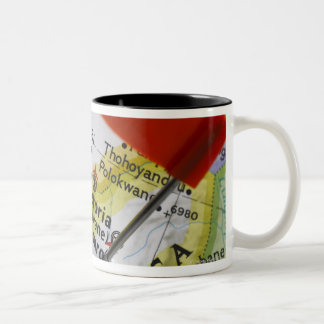 Map pin placed in Johannesburg, South Africa on Two-Tone Coffee Mug