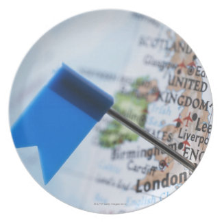 Map pin placed in London, UK on map, close-up Dinner Plate
