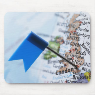 Map pin placed in London, UK on map, close-up Mouse Pad