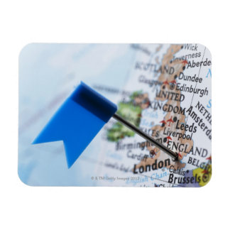 Map pin placed in London, UK on map, close-up Rectangular Magnet