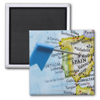 Map pin placed in Madrid, Spain on map, close-up 2 Inch Square Magnet