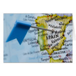 Map pin placed in Madrid, Spain on map, close-up Card