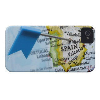 Map pin placed in Madrid, Spain on map, close-up iPhone 4 Case-Mate Case
