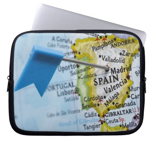 Map pin placed in Madrid, Spain on map, close-up Laptop Sleeves