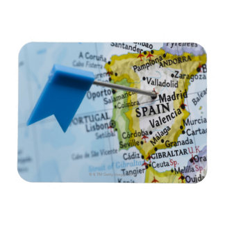 Map pin placed in Madrid, Spain on map, close-up Magnet