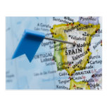 Map pin placed in Madrid, Spain on map, close-up Postcard