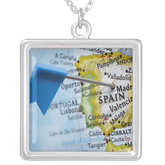 Map pin placed in Madrid, Spain on map, close-up Silver Plated Necklace