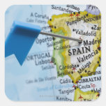 Map pin placed in Madrid, Spain on map, close-up Square Sticker