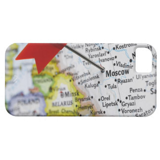 Map pin placed in Moscow, Russia on map, iPhone 5 Case