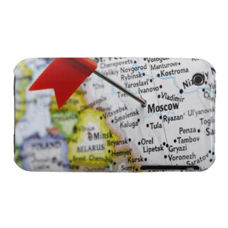 Map pin placed in Moscow, Russia on map, Case-Mate iPhone 3 Case