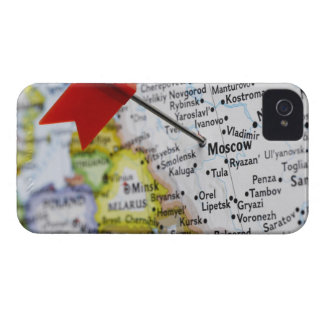 Map pin placed in Moscow, Russia on map, Case-Mate iPhone 4 Case