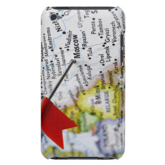 Map pin placed in Moscow, Russia on map, iPod Touch Case-Mate Case