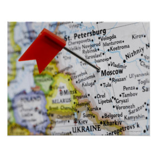 Map pin placed in Moscow, Russia on map, Print