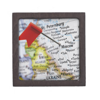 Map pin placed in Moscow, Russia on map, Premium Trinket Boxes