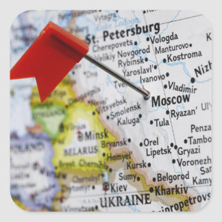Map pin placed in Moscow, Russia on map, Square Sticker