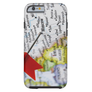 Map pin placed in Moscow, Russia on map, Tough iPhone 6 Case