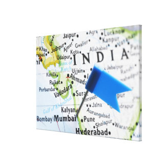 Map pin placed in Mumbai, India on map, close-up Canvas Print