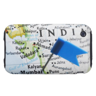 Map pin placed in Mumbai, India on map, close-up iPhone 3 Tough Covers