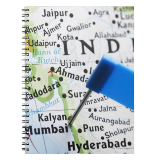 Map pin placed in Mumbai, India on map, close-up Note Books