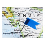 Map pin placed in Mumbai, India on map, close-up Postcards