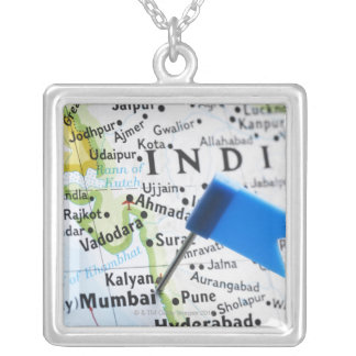 Map pin placed in Mumbai, India on map, close-up Square Pendant Necklace