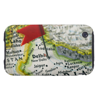 Map pin placed in New Delhi, India on map, iPhone 3 Tough Cases