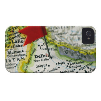 Map pin placed in New Delhi, India on map, iPhone 4 Case-Mate Case