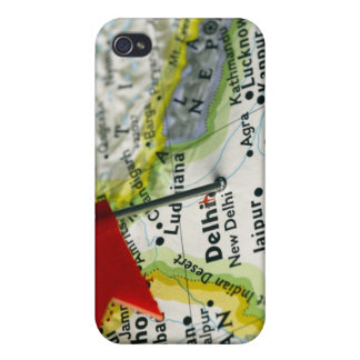 Map pin placed in New Delhi, India on map, iPhone 4 Covers