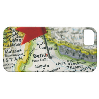 Map pin placed in New Delhi, India on map, iPhone SE/5/5s Case