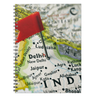Map pin placed in New Delhi, India on map, Note Book