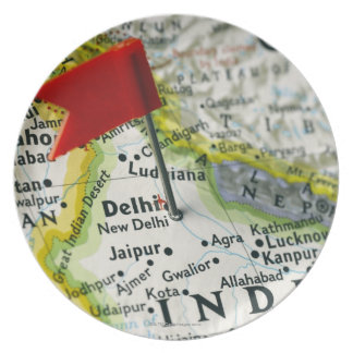Map pin placed in New Delhi India on map Party Plates