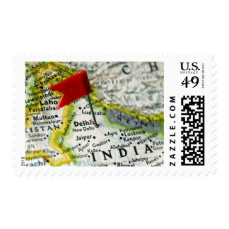 Map pin placed in New Delhi, India on map, Postage