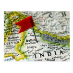 Map pin placed in New Delhi, India on map, Post Cards