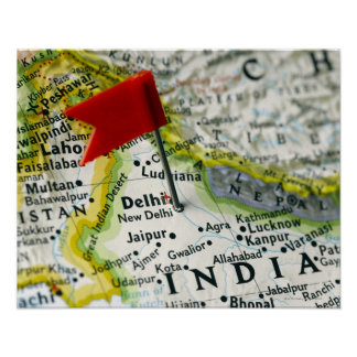 Map pin placed in New Delhi, India on map, Poster