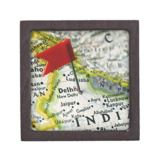 Map pin placed in New Delhi, India on map, Premium Gift Boxes