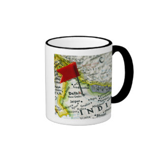 Map pin placed in New Delhi, India on map, Ringer Coffee Mug