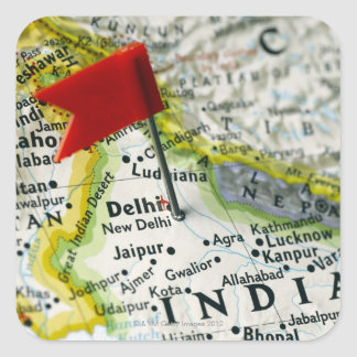 Map pin placed in New Delhi, India on map, Square Sticker