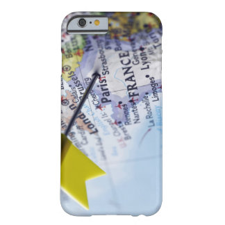 Map pin placed in Paris, France on map, close-up Barely There iPhone 6 Case