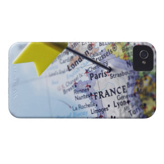 Map pin placed in Paris, France on map, close-up iPhone 4 Cover