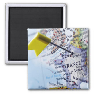Map pin placed in Paris, France on map, close-up Magnet